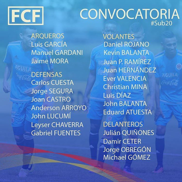 Colombian Players-FCFSub20-Sudamericano2017