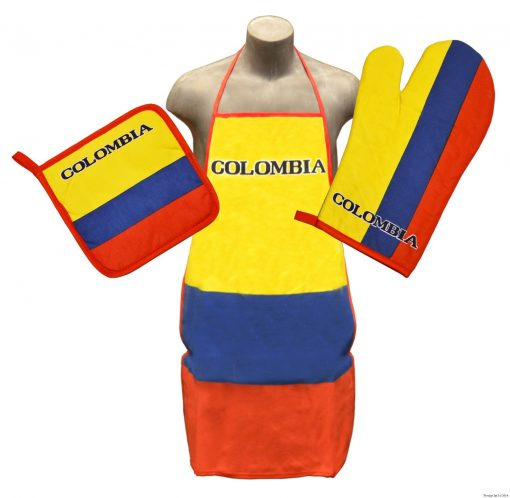 Colombia Product Apron Colombia Kitchen & BBQ Set Oven Mitt & Pot Holder Colombia Flag Colors