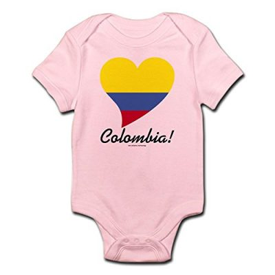 Colombia baby onesie pink tricolor heart