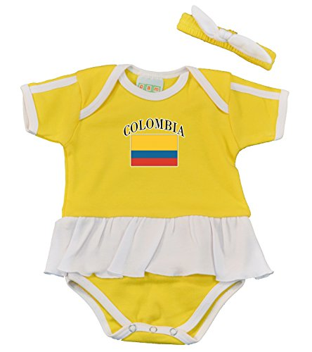 Colombia flag skirted baby onesie with matching headband