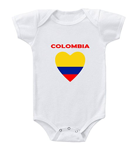 White Colombia Baby Onesie Heart Flag Colors