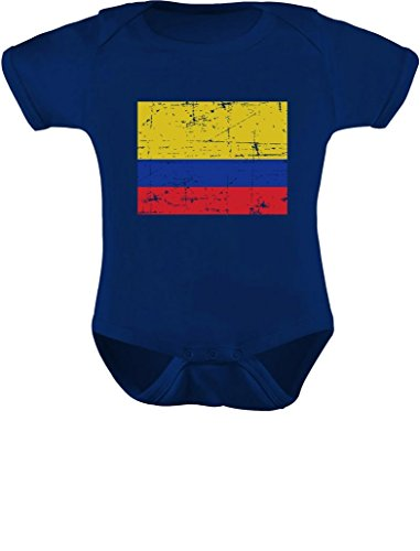 Colombia Baby Onesie Blue Retro Flag