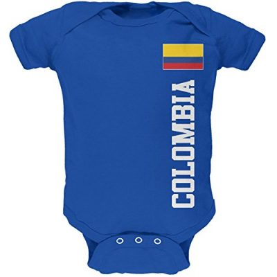 Blue Colombia baby onesie with flag