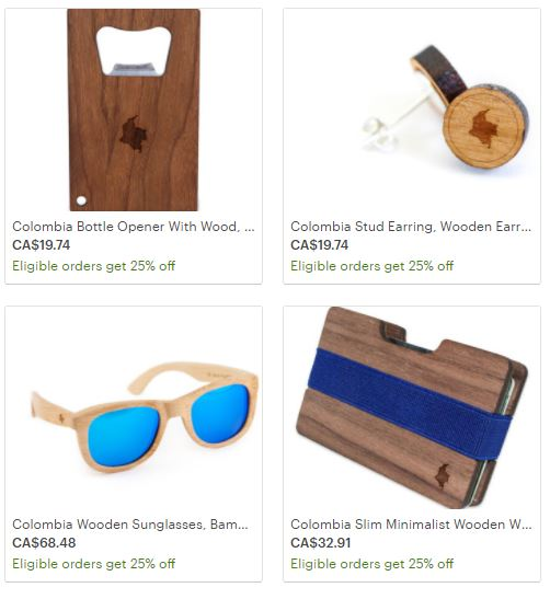 Colombia Wooden Collection Accessories Colombian map
